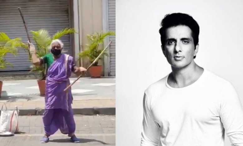 Sonu Sood rushed forward to help her grandmother who was walking on the road with a stick to fill her stomach
