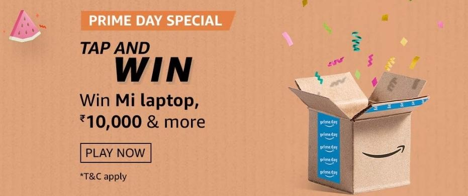 Amazon Prime Day Tap & Win Quiz Answers - Win MI Laptop, Fire TV stick & Amazon Pay balance