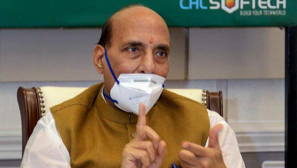 Defence minister Rajnath Singh during the launch of DGNCC Mobile Training App for the benefit of National Cadet Corps cadets to help train themselves during Covid-19 times in New Delhi on Thursday.